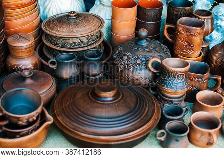 Pottery - Dishes, Plates And Cups Marketplace Decoration