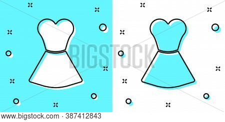 Black Line Woman Dress Icon Isolated On Green And White Background. Clothes Sign. Random Dynamic Sha