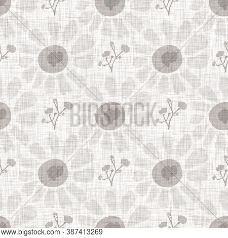 Natural Gray French Woven Linen Texture Background. Old Ecru Flax Bloom Motif Seamless Pattern. Orga