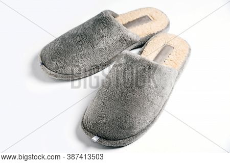 Home Comfortable Domestic Male Shoes Slippers On White Background