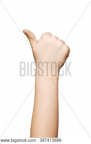 Hand Of A Child, Thumbs Up On A White Background, Isolated
