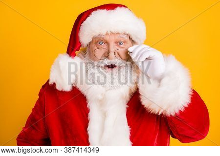 Portrait Of Astonished Santa Claus Look See X-mas Magic Miracle Newyear Discounts Impressed Touch Wh