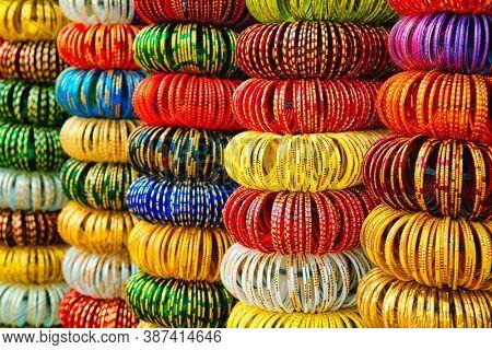 Indian Bangles or wrist bracelets on sale in a Jewelery shop. Jodhpur, Rajasthan, India