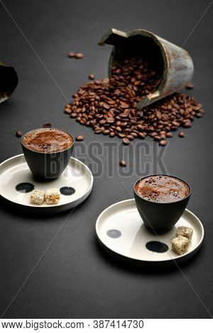Turkish coffee set including coffee beans for International Coffee Day