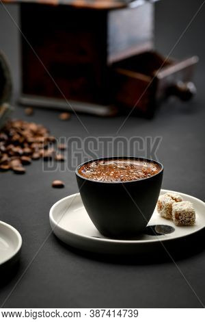 Turkish coffee set including coffee, grinder and coffee beans celebrating International Coffee Day