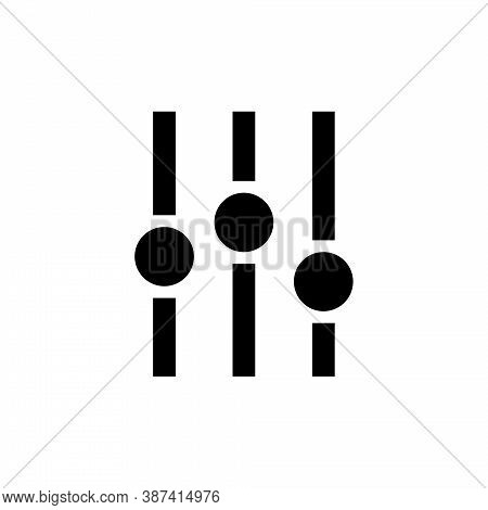 Music Equalizer, Frequency Sound Slider. Flat Vector Icon Illustration. Simple Black Symbol On White