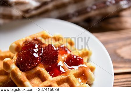 Tasty Homemade Food Of Waffle And Strawberry Jam