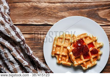 Wafers Food With Strawberry Jam On A White Plate