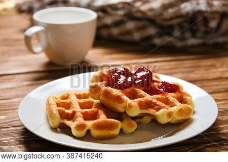 Good Morning American Breakfast Waffle Delicious Food