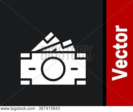 White Stacks Paper Money Cash Icon Isolated On Black Background. Money Banknotes Stacks. Bill Curren