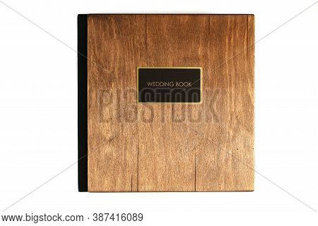 Wooden Texture Cover Wedding Book Mock Up