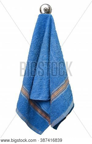 Blue Towel On A Hook Isolated On A White Background