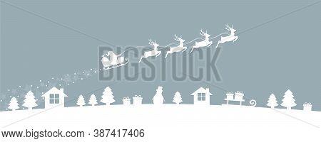 Christmas Village Winter Banner With Santa Sleigh And Reindeer Vector Illustration Eps10