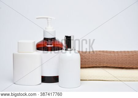 Clean Mock Up Branding Spa And Cosmetics Products On White Background
