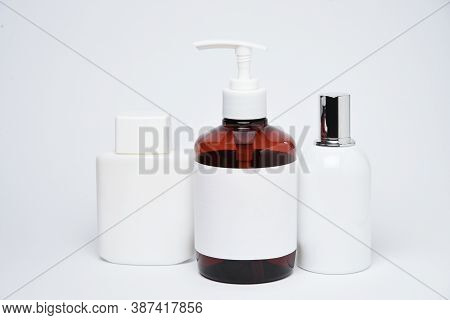 Blank Mockup Package Cosmetic And Cream Jars On White Background
