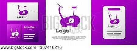 Logotype Stationary Bicycle Icon Isolated On White Background. Exercise Bike. Logo Design Template E