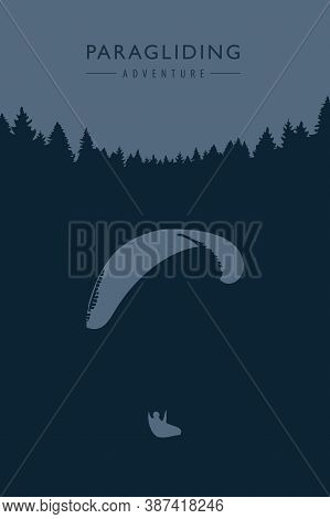 Paragliding Adventure On Blue Forest Background Vector Illustration Eps10