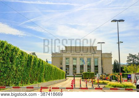 Geneva, Switzerland - Aug 16, 2020: Cars Entrance Gate Of United Nations Offices Or Palais Des Natio