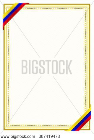 Vertical  Frame And Border With Venezuela Flag, Template Elements For Your Certificate And Diploma.