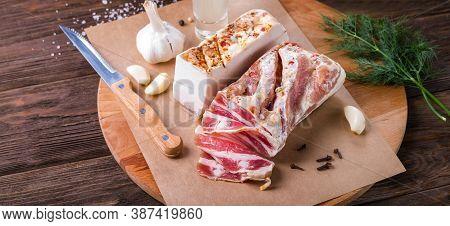 Pork Salted Lard And Brisket On Wooden Background
