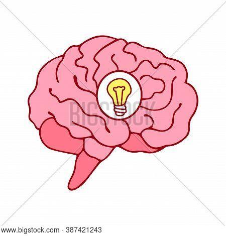 Brain Icon With Bulb Idea Concept Cartoon Style Vector Illustration