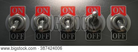 Row of retro toggle switch in OFF position and one in ON position on metal background. 3d illustration