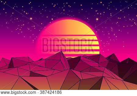 Vector Futuristic Illustration Of Planet With Mountains And Cityscape In Retro Style. Retro. Digital