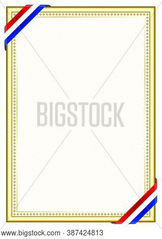 Vertical  Frame And Border With Paraguay Flag, Template Elements For Your Certificate And Diploma. V