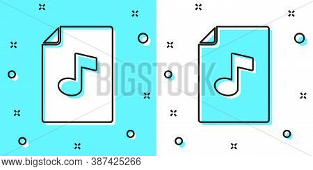 Black Line Music Book With Note Icon Isolated On Green And White Background. Music Sheet With Note S