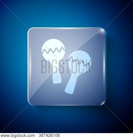 White Maracas Icon Isolated On Blue Background. Music Maracas Instrument Mexico. Square Glass Panels