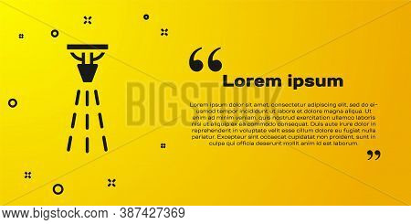 Black Fire Sprinkler System Icon Isolated On Yellow Background. Sprinkler, Fire Extinguisher Solid I