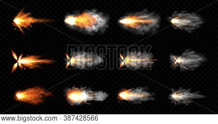 Gun Flashes With Smoke And Fire Sparkles. Pistol Shots Clouds, Muzzle Shotgun Explosion. Blast Motio