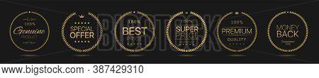 Golden Laurel Wreath Label Badge Set Isolated. Genuine Product, Special Offer, Best Price, Super Pri