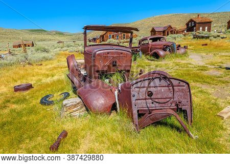 Rusty Wreck Of The Vintage Old Car Of The 1930s, In Bodie State Historic Park, Californian Ghost Tow