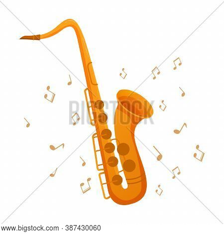 Saxophone Musical Instrument And Music Notes. Concept Icons For Clubs And Conservatories.