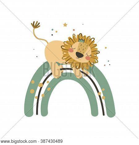 Cute Baby Lion On Rainbow. Use This Clipart To Create Baby Shower Invites, Nursery Art, Birthday Dec