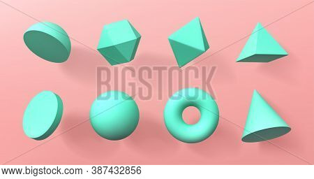 Geometric 3d Shapes Hemisphere, Octahedron, Sphere And Torus, Cone, Cylinder And Pyramid With Icosah