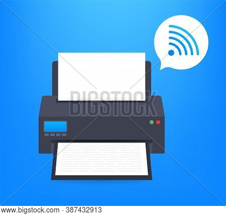 Printer Icon With Wifi Wireless Symbol. Wireless Printer. Vector Stock Illustration.