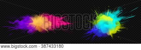 Color Powder Explosions Isolated On Transparent Background. Splash Of Paint Dust With Particles. Vec