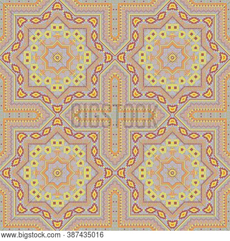 Intricate Moroccan Zellige Tile Seamless Pattern. Geometric Texture Vector Swatch. Rug Print Design.