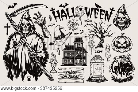 Halloween Vintage Monochrome Composition With Traditional Spooky And Scary Elements Isolated Vector