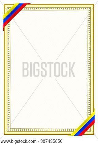 Vertical  Frame And Border With Ecuador Flag, Template Elements For Your Certificate And Diploma. Ve