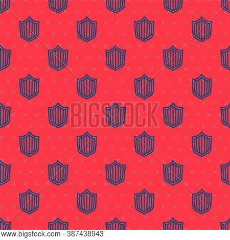 Blue Line Shield Icon Isolated Seamless Pattern On Red Background. Guard Sign. Security, Safety, Pro