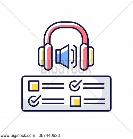 Listening Examination Rgb Color Icon. Comprehension Practice Tests. School And University Education.