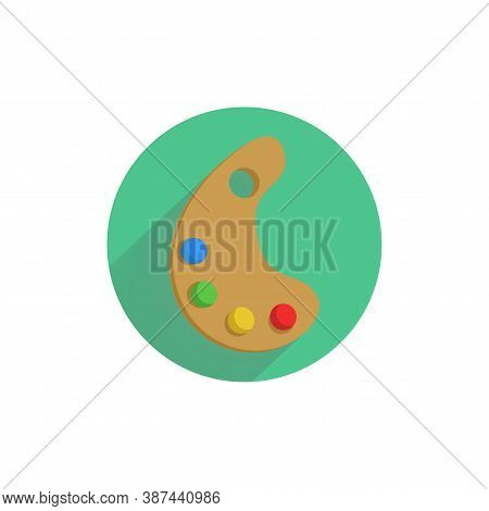 Color Palette With Brush. Paint Palette. Painting Kit Colorful Flat Icon With Long Shadow. Art Flat