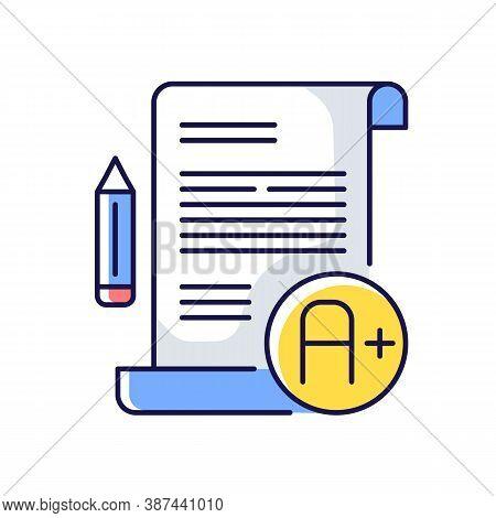 Essay Examination Rgb Color Icon. Succesful Result. Comprehensive Exam. Highest Grade. Pencil And Pa