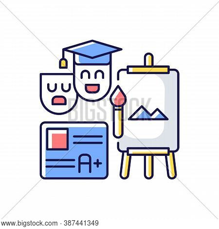 Creative Certification Exam Rgb Color Icon. Art And Theatrical Education Degree. Drawing Skills. Sch