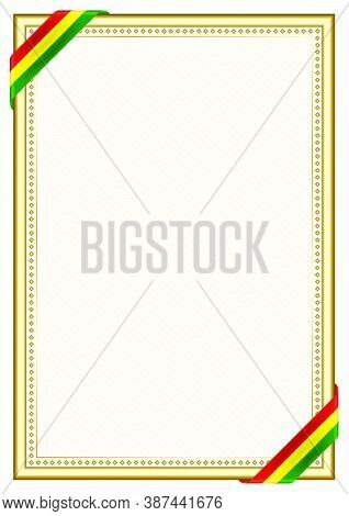 Vertical  Frame And Border With Bolivia Flag, Template Elements For Your Certificate And Diploma. Ve