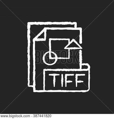 Tiff File Chalk White Icon On Black Background. Tagged Image File Format. Tif. Lossless Compression.