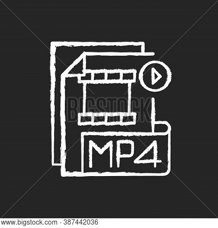 Mp4 File Chalk White Icon On Black Background. Digital Multimedia Container Format. Video, Audio And